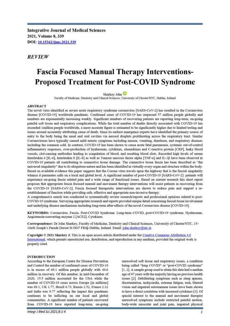 Fascia Focused Manual Therapy Interventions-Proposed Treatment for Post-COVID Syndrome